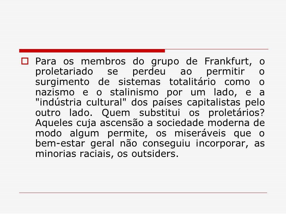 Para os membros do grupo de Frankfurt, o proletariado se perdeu ao permitir o surgimento de sistemas totalitário como o nazismo e o stalinismo por um lado, e a indústria cultural dos países capitalistas pelo outro lado.