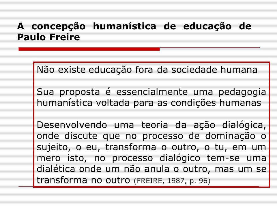 A concepção humanística de educação de Paulo Freire