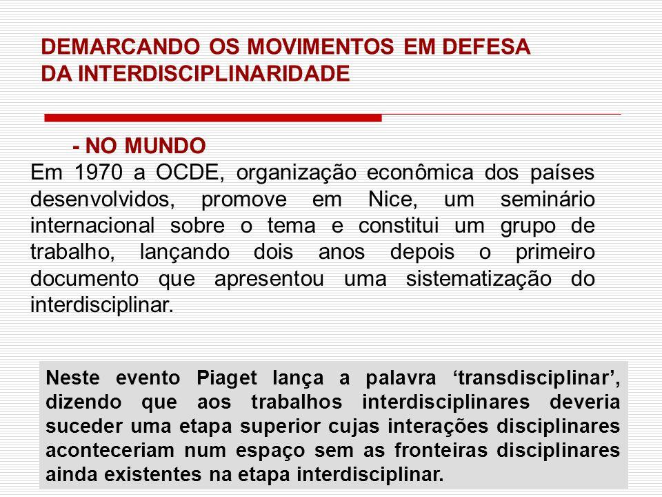 DEMARCANDO OS MOVIMENTOS EM DEFESA DA INTERDISCIPLINARIDADE