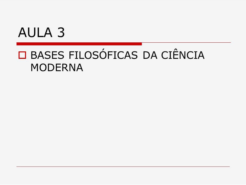 AULA 3 BASES FILOSÓFICAS DA CIÊNCIA MODERNA