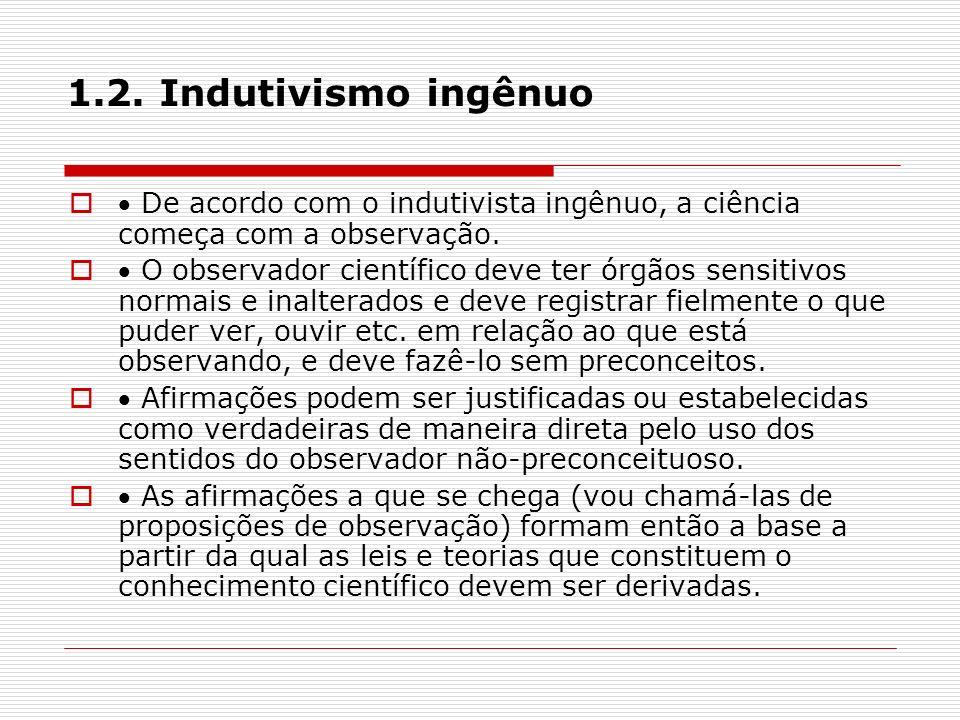 1.2. Indutivismo ingênuo  De acordo com o indutivista ingênuo, a ciência começa com a observação.
