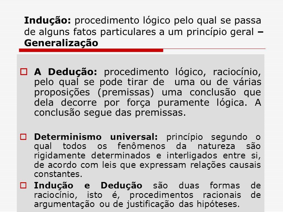 Indução: procedimento lógico pelo qual se passa de alguns fatos particulares a um princípio geral – Generalização