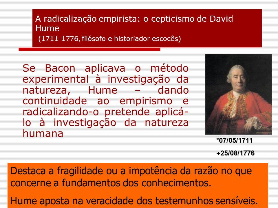 A radicalização empirista: o cepticismo de David Hume (1711-1776, filósofo e historiador escocês)
