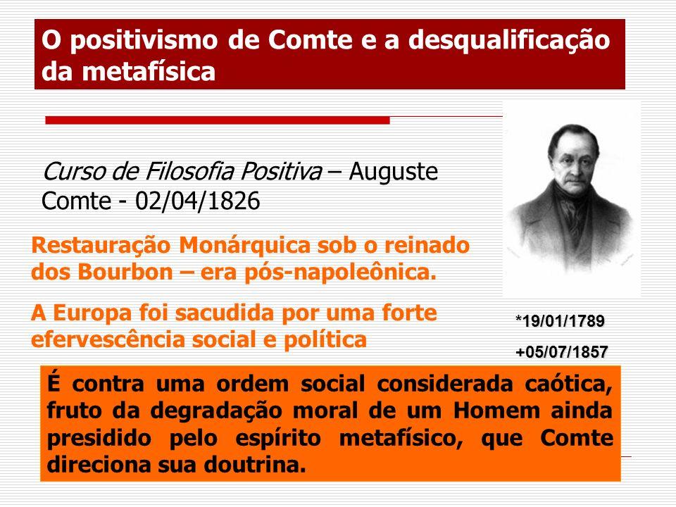 O positivismo de Comte e a desqualificação da metafísica