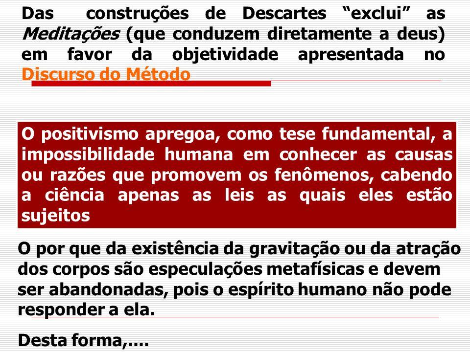 Das construções de Descartes exclui as Meditações (que conduzem diretamente a deus) em favor da objetividade apresentada no Discurso do Método