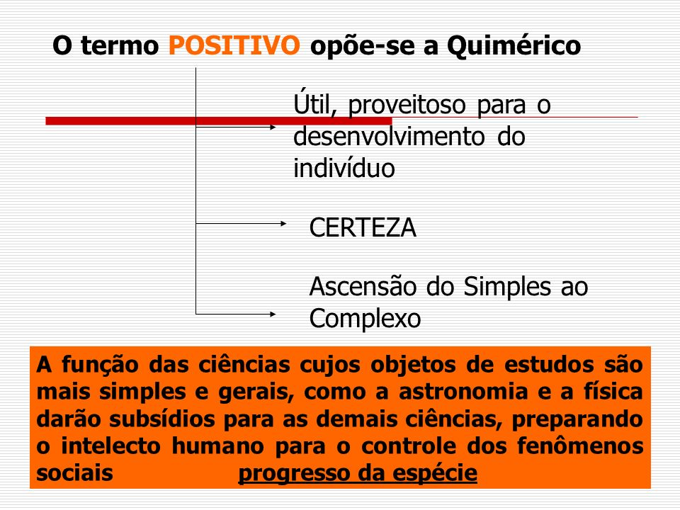 O termo POSITIVO opõe-se a Quimérico