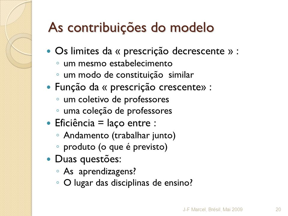 As contribuições do modelo