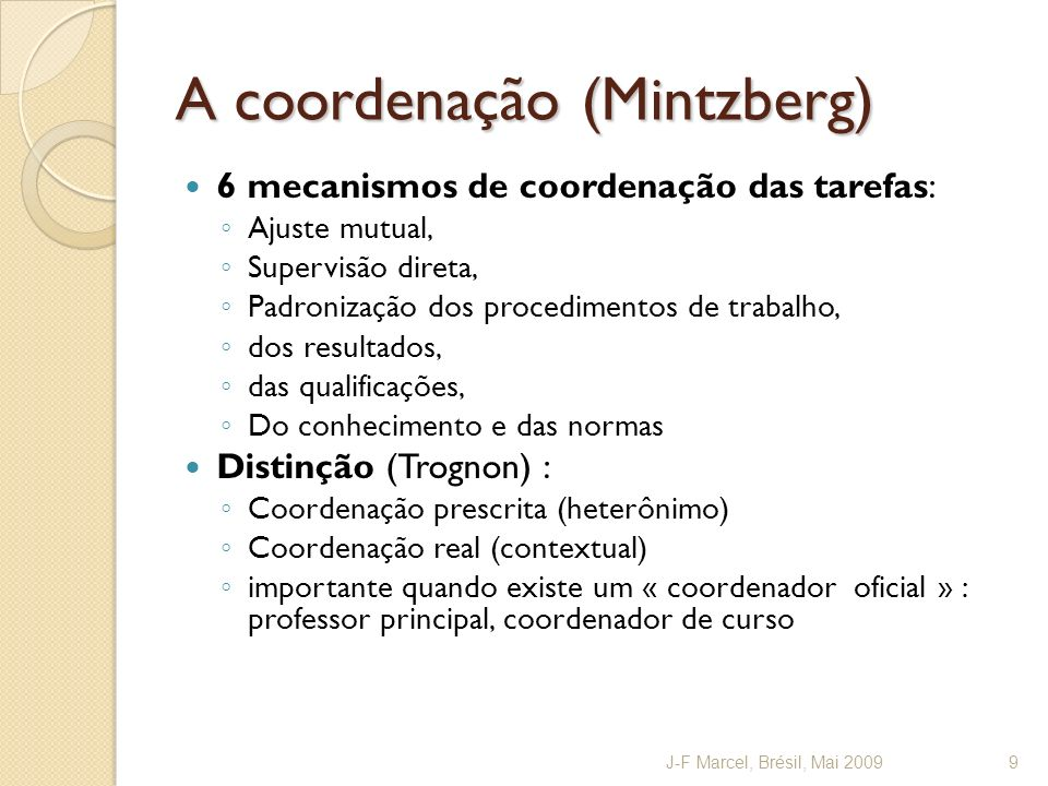 A coordenação (Mintzberg)