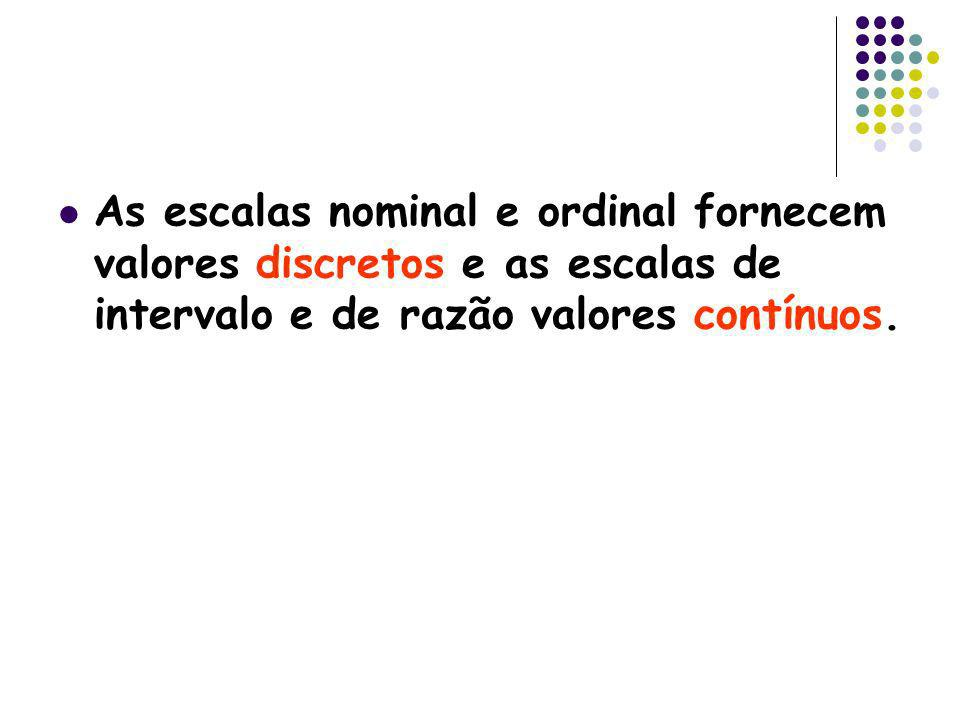 As escalas nominal e ordinal fornecem valores discretos e as escalas de intervalo e de razão valores contínuos.