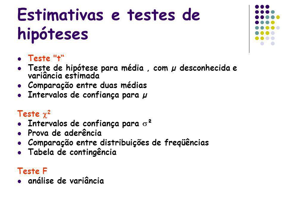 Estimativas e testes de hipóteses