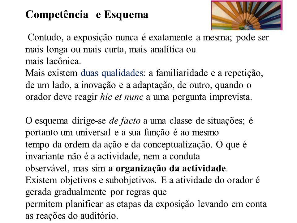 Competência e Esquema Contudo, a exposição nunca é exatamente a mesma; pode ser mais longa ou mais curta, mais analítica ou mais lacônica.