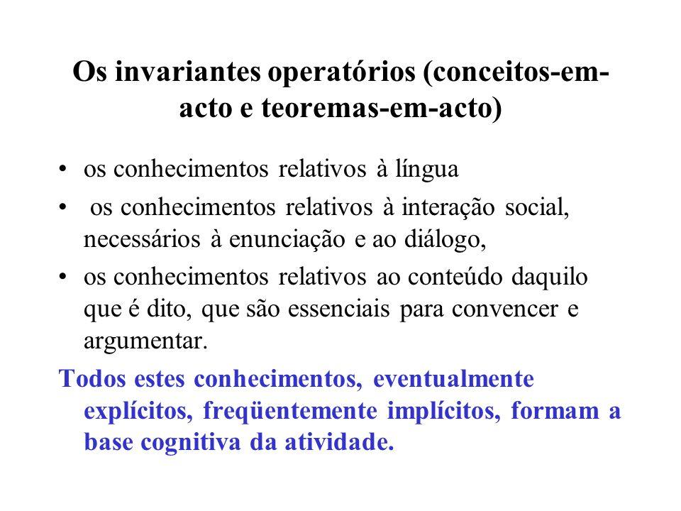 Os invariantes operatórios (conceitos-em-acto e teoremas-em-acto)