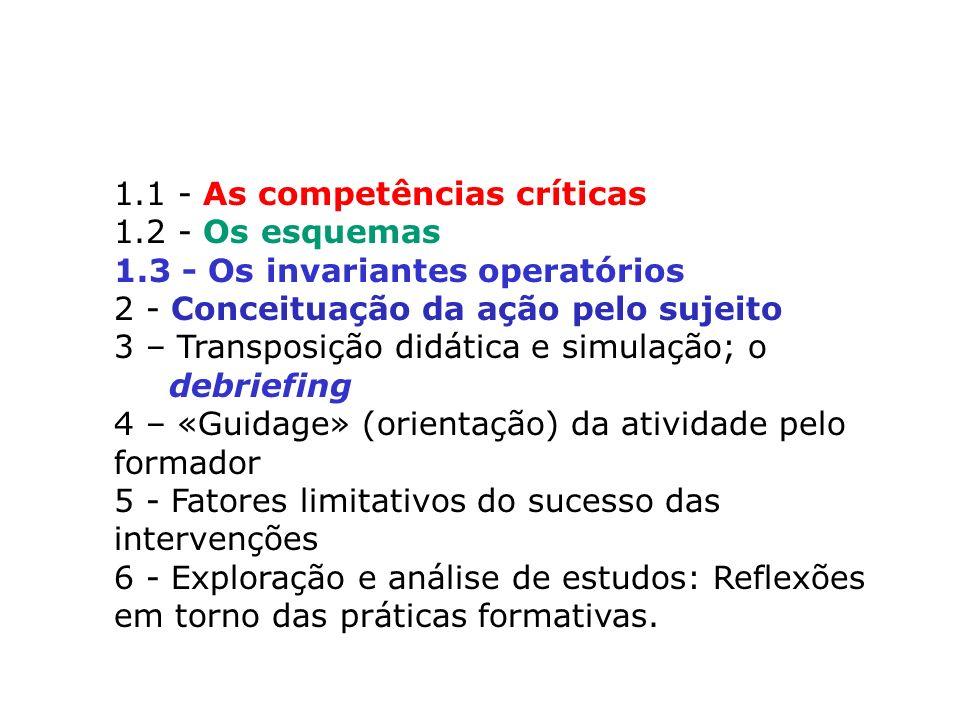 1. 1 - As competências críticas 1. 2 - Os esquemas 1