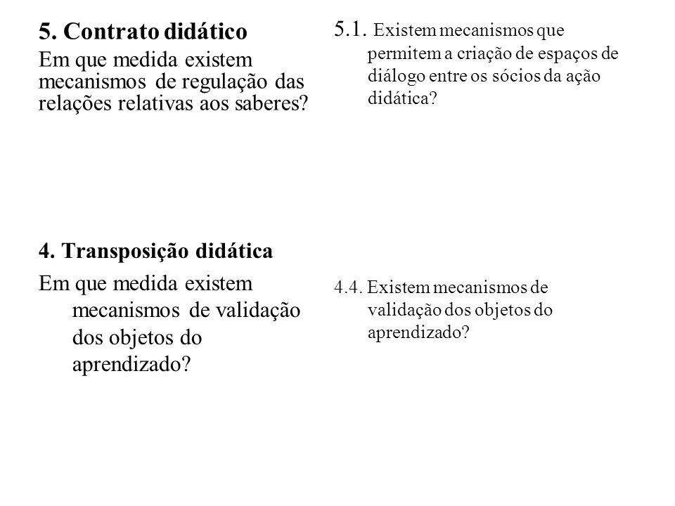 5.1. Existem mecanismos que permitem a criação de espaços de diálogo entre os sócios da ação didática