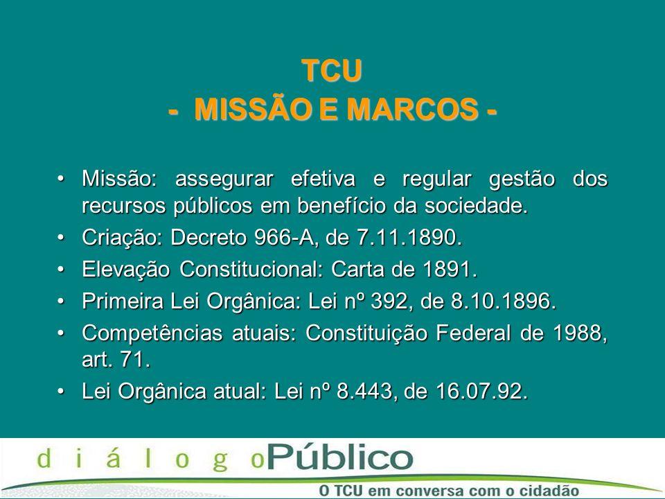 TCU - MISSÃO E MARCOS -Missão: assegurar efetiva e regular gestão dos recursos públicos em benefício da sociedade.
