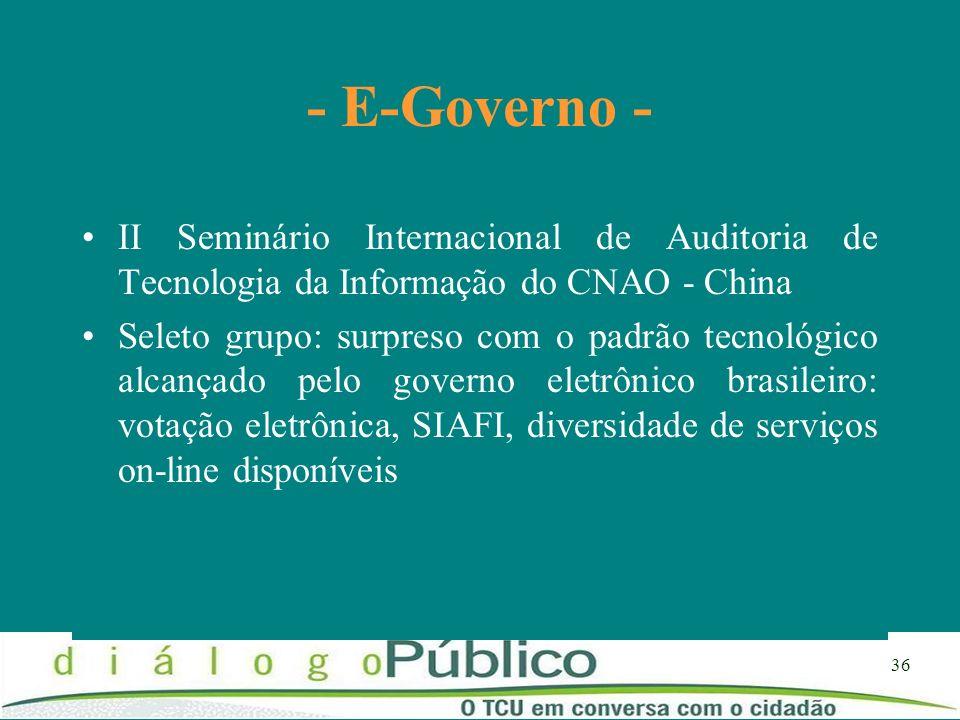 - E-Governo -II Seminário Internacional de Auditoria de Tecnologia da Informação do CNAO - China.