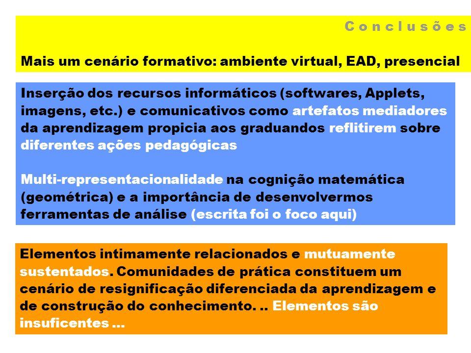 C o n c l u s õ e s Mais um cenário formativo: ambiente virtual, EAD, presencial.