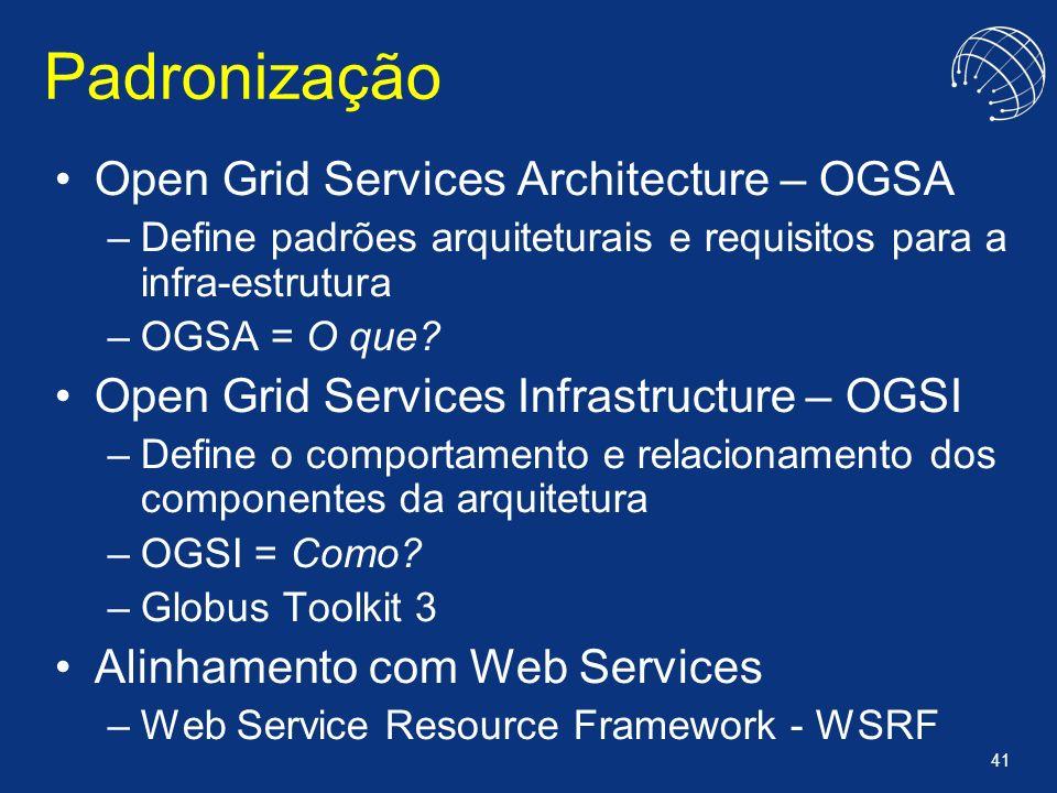 Padronização Open Grid Services Architecture – OGSA