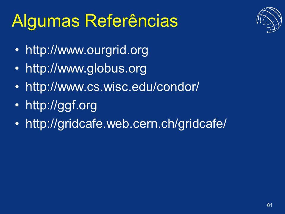 Algumas Referências http://www.ourgrid.org http://www.globus.org