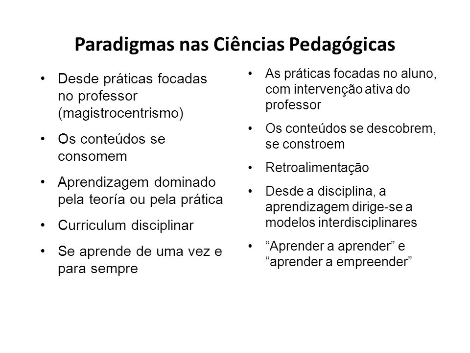 Paradigmas nas Ciências Pedagógicas