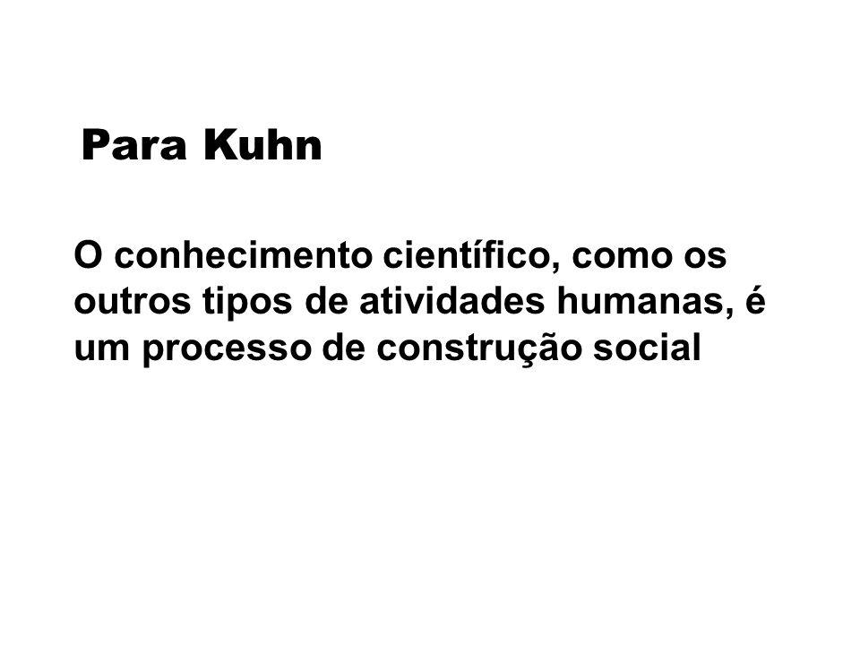 Para Kuhn O conhecimento científico, como os outros tipos de atividades humanas, é um processo de construção social.
