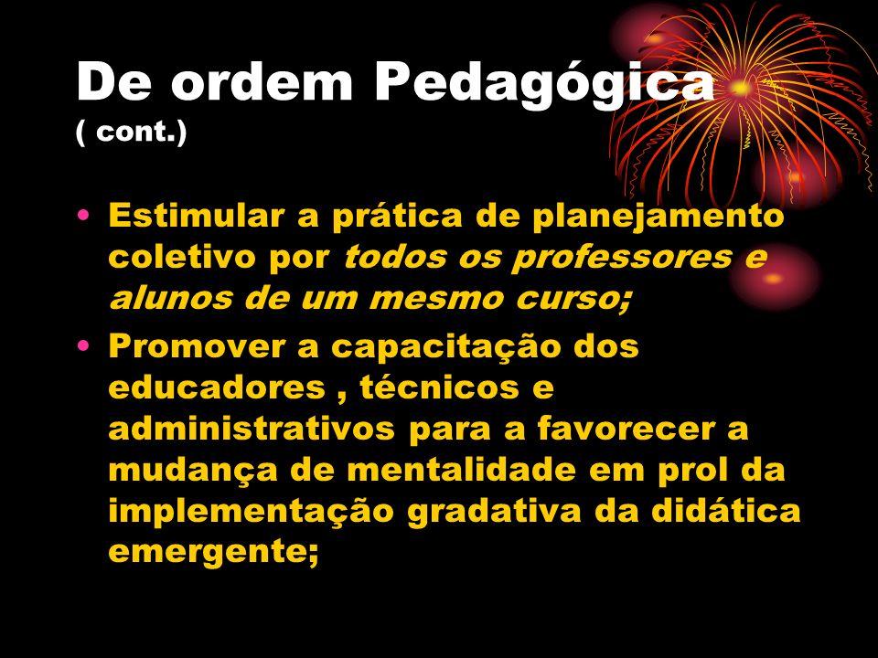 De ordem Pedagógica ( cont.)
