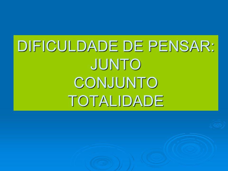 DIFICULDADE DE PENSAR: JUNTO CONJUNTO TOTALIDADE