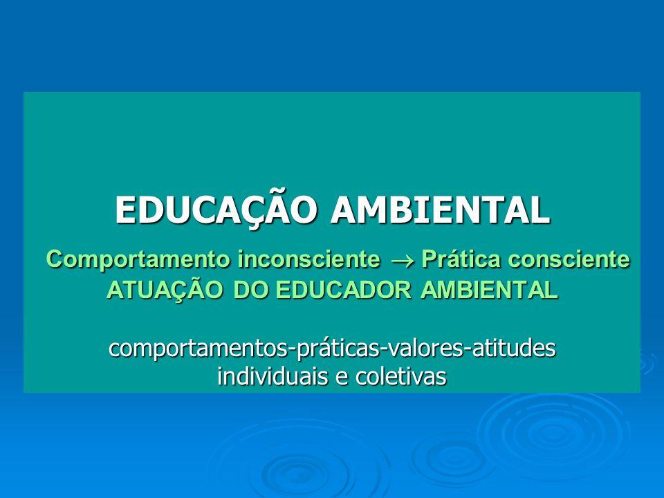 EDUCAÇÃO AMBIENTAL Comportamento inconsciente  Prática consciente ATUAÇÃO DO EDUCADOR AMBIENTAL comportamentos-práticas-valores-atitudes individuais e coletivas