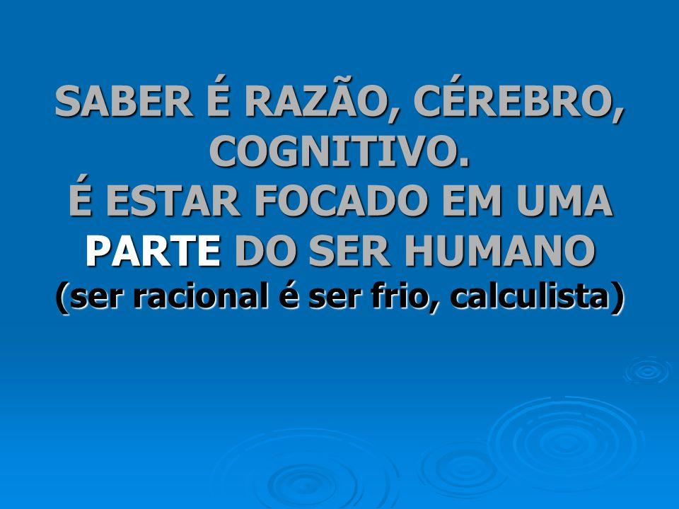 SABER É RAZÃO, CÉREBRO, COGNITIVO