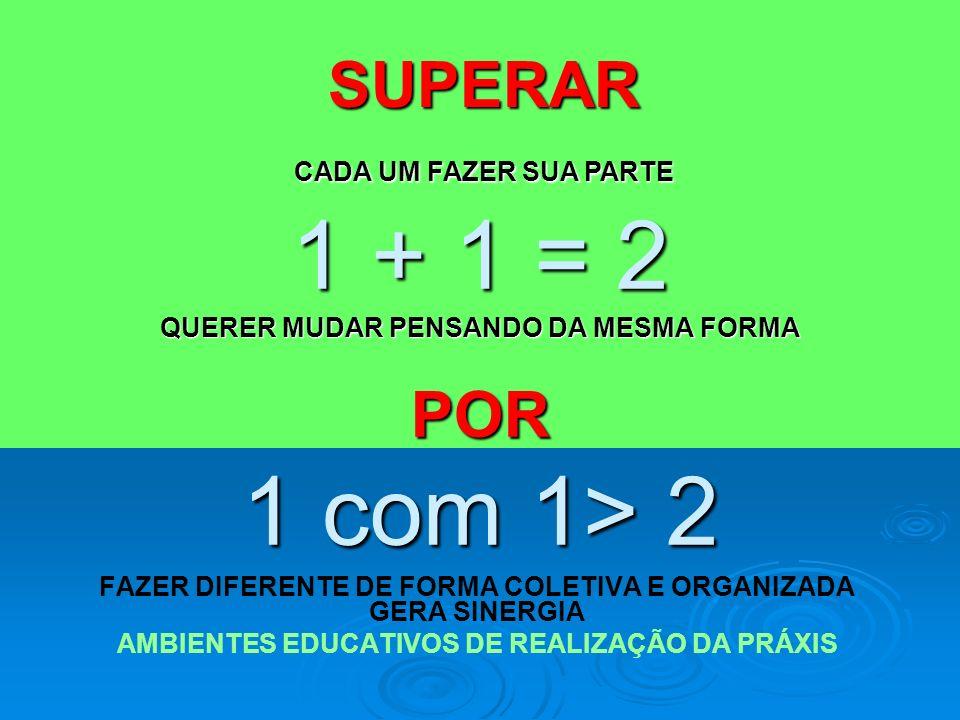 1 + 1 = 2 QUERER MUDAR PENSANDO DA MESMA FORMA POR 1 com 1> 2