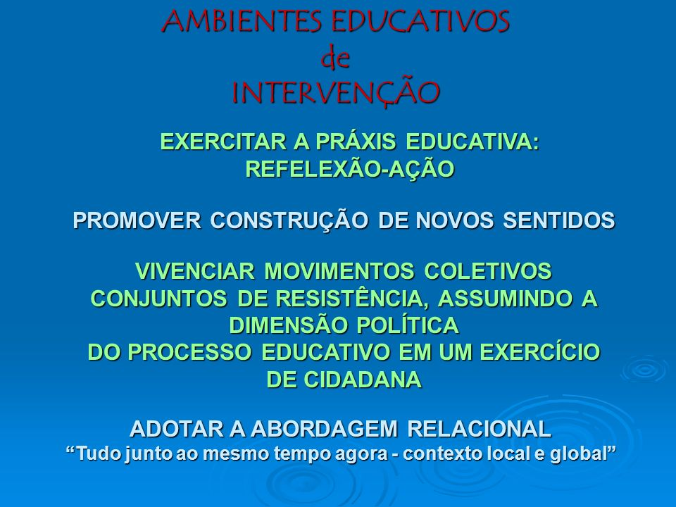 AMBIENTES EDUCATIVOS de INTERVENÇÃO