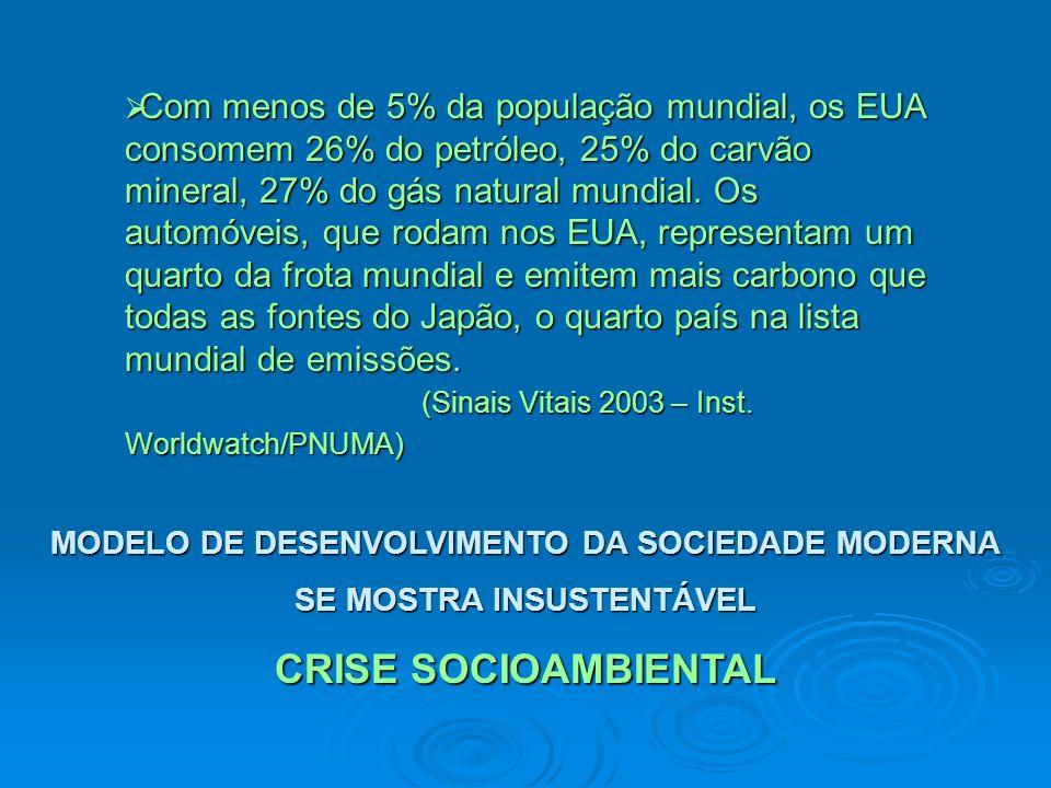 MODELO DE DESENVOLVIMENTO DA SOCIEDADE MODERNA SE MOSTRA INSUSTENTÁVEL