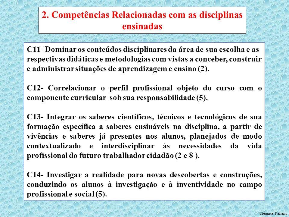 2. Competências Relacionadas com as disciplinas ensinadas
