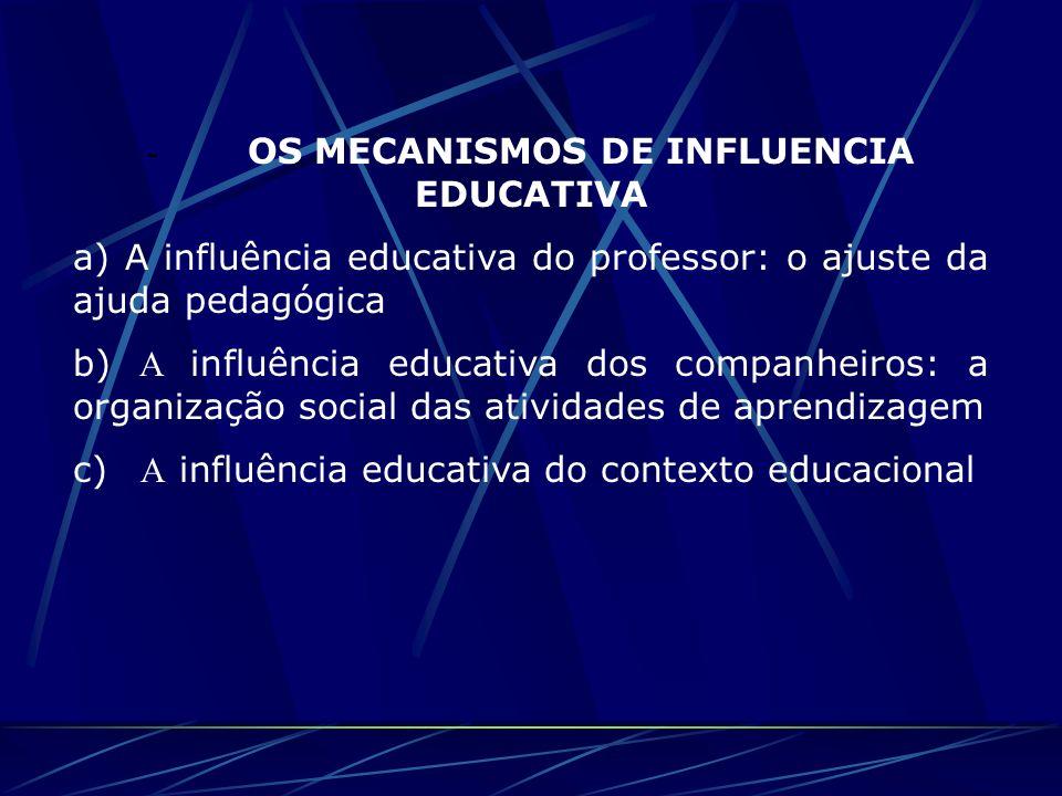 - OS MECANISMOS DE INFLUENCIA EDUCATIVA