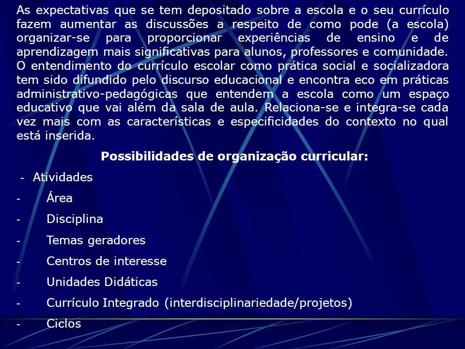 Possibilidades de organização curricular: