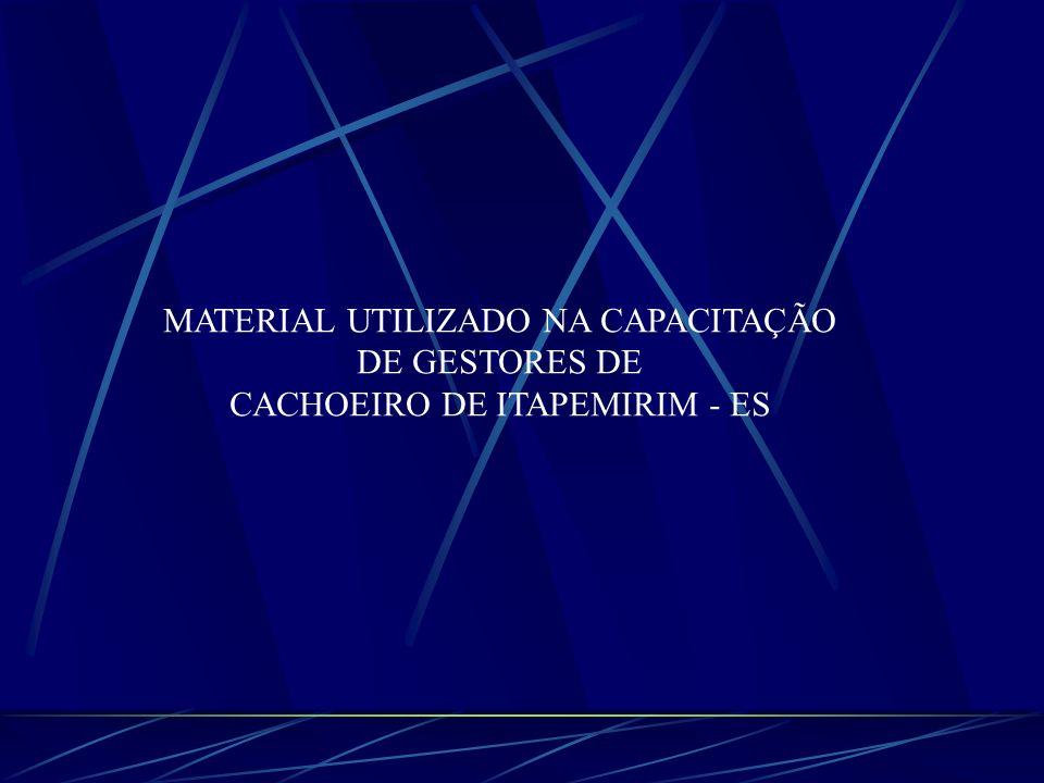 MATERIAL UTILIZADO NA CAPACITAÇÃO DE GESTORES DE