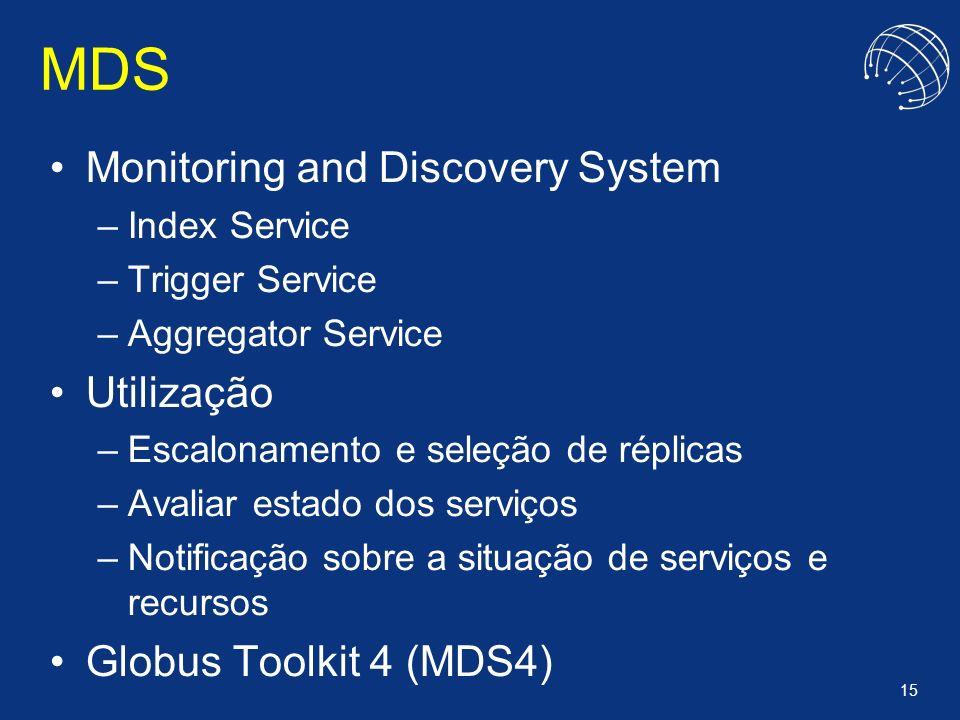 MDS Monitoring and Discovery System Utilização Globus Toolkit 4 (MDS4)