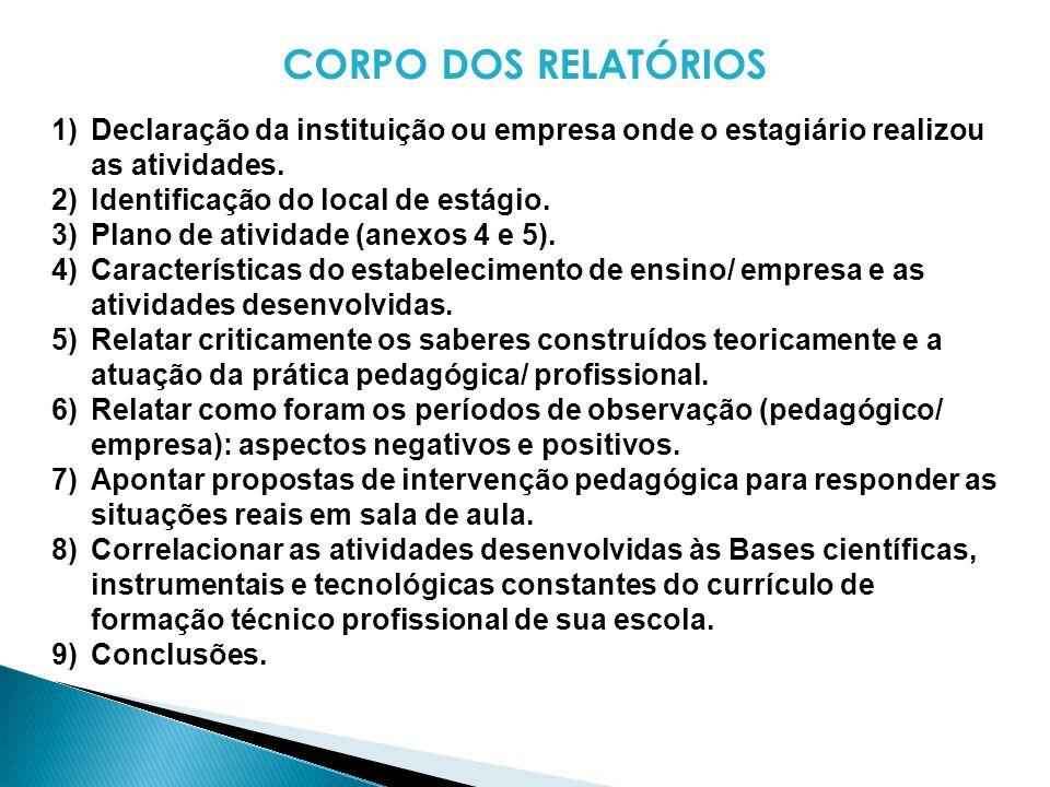 CORPO DOS RELATÓRIOS Declaração da instituição ou empresa onde o estagiário realizou as atividades.