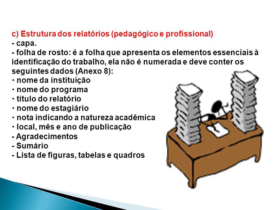 c) Estrutura dos relatórios (pedagógico e profissional) - capa.