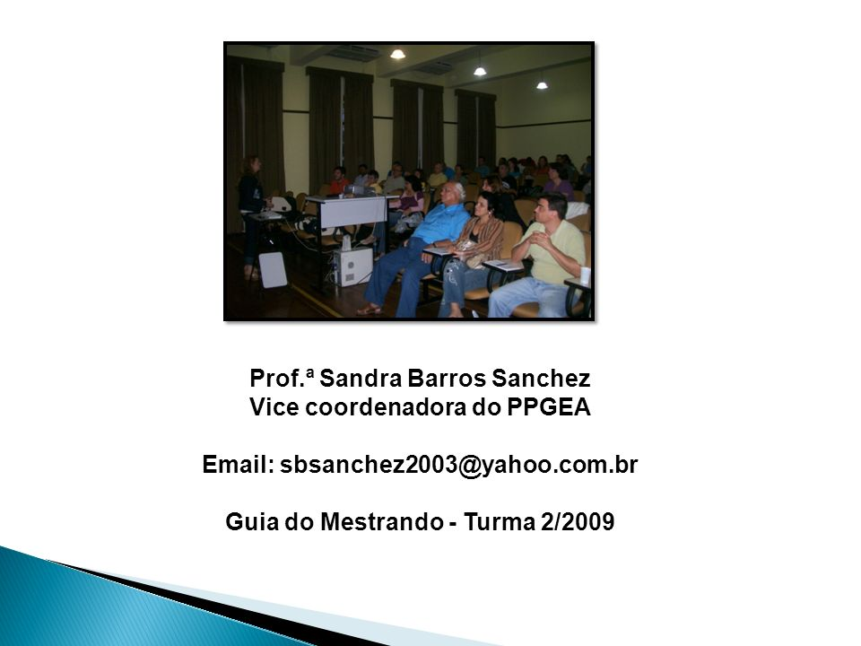 Prof.ª Sandra Barros Sanchez Vice coordenadora do PPGEA