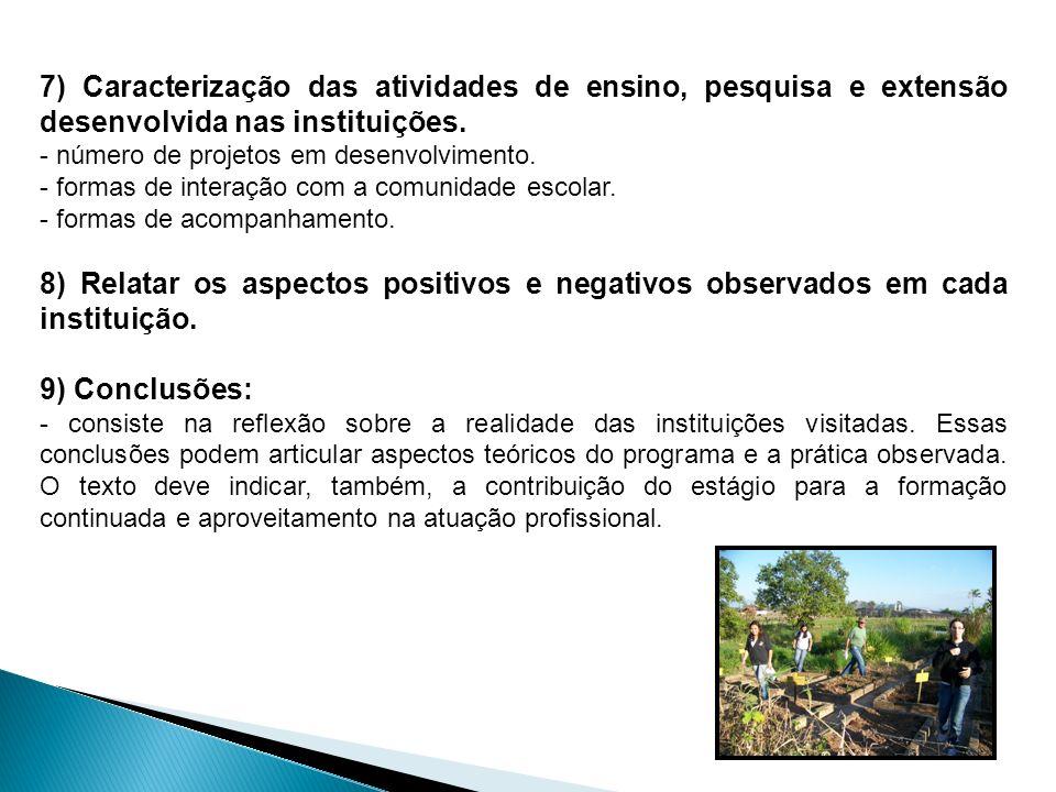 7) Caracterização das atividades de ensino, pesquisa e extensão desenvolvida nas instituições.