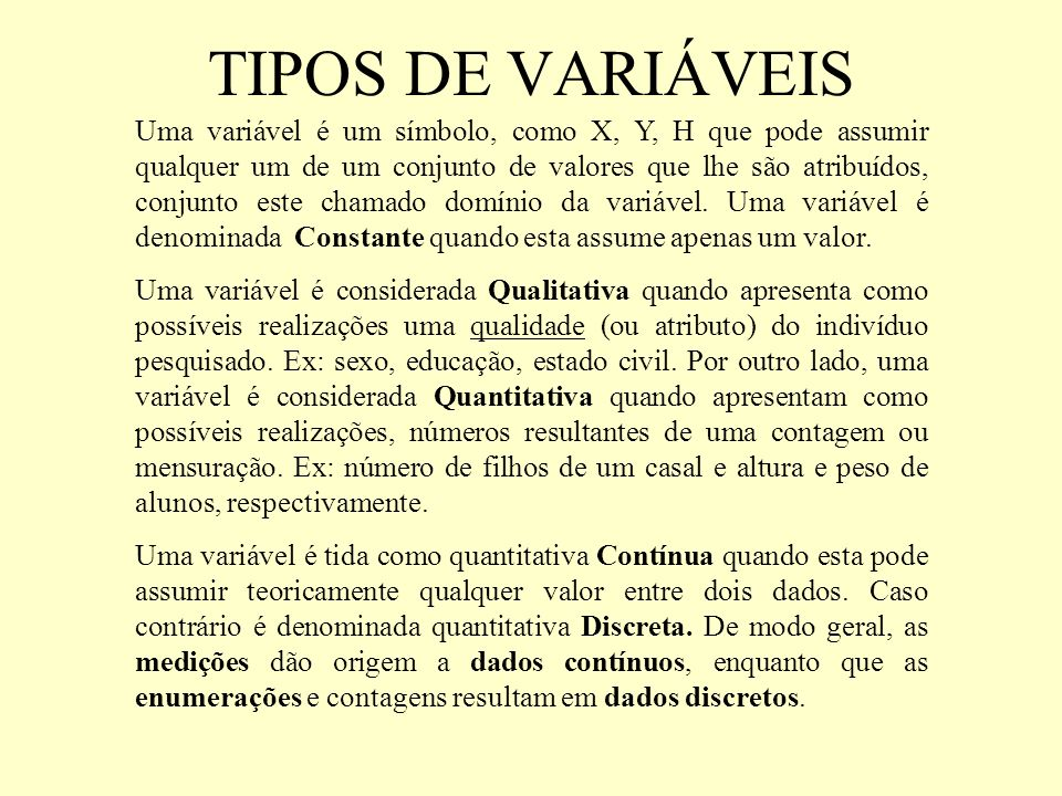 TIPOS DE VARIÁVEIS
