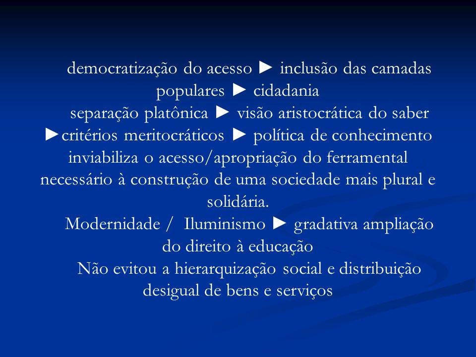 democratização do acesso ► inclusão das camadas populares ► cidadania