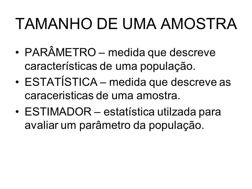 TAMANHO DE UMA AMOSTRA PARÂMETRO – medida que descreve características de uma população.