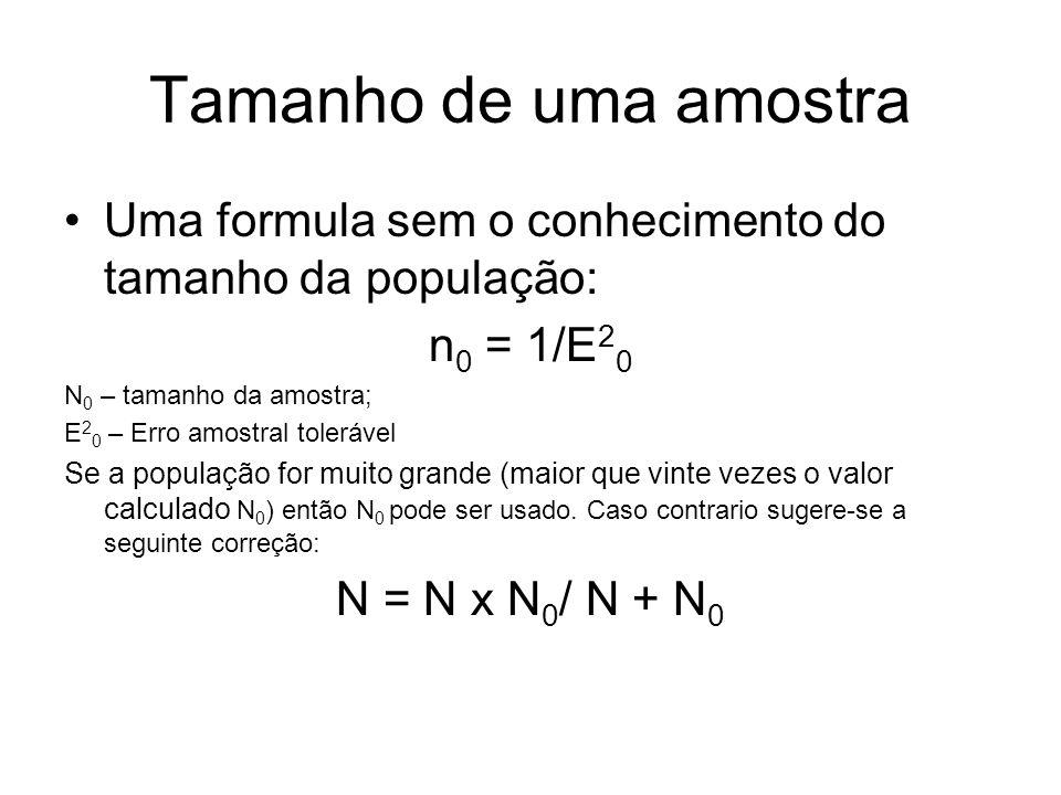 Tamanho de uma amostra Uma formula sem o conhecimento do tamanho da população: n0 = 1/E20. N0 – tamanho da amostra;