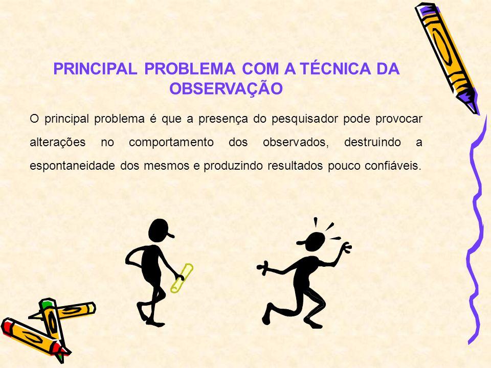PRINCIPAL PROBLEMA COM A TÉCNICA DA OBSERVAÇÃO