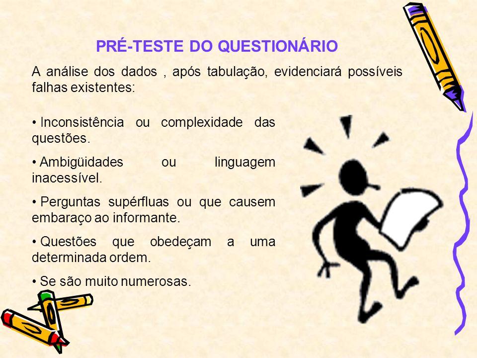 PRÉ-TESTE DO QUESTIONÁRIO