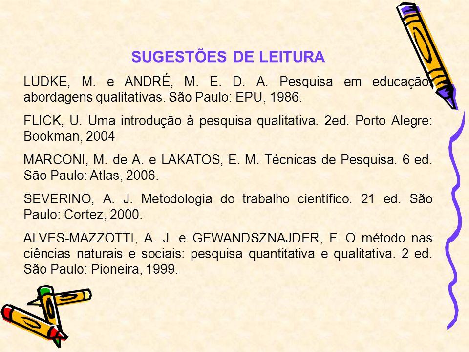SUGESTÕES DE LEITURALUDKE, M. e ANDRÉ, M. E. D. A. Pesquisa em educação: abordagens qualitativas. São Paulo: EPU, 1986.