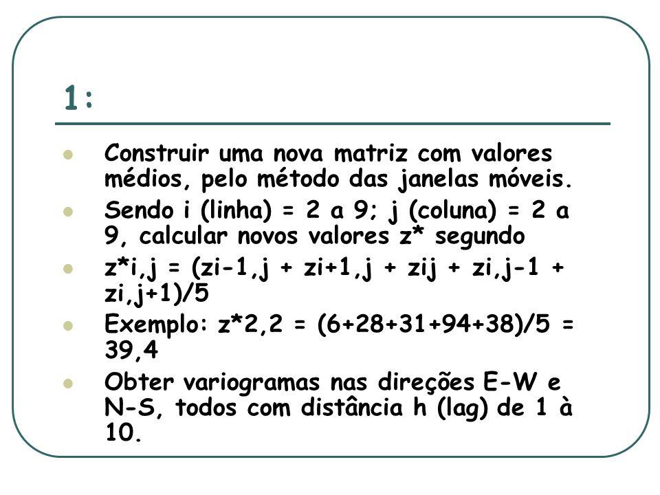 1: Construir uma nova matriz com valores médios, pelo método das janelas móveis.