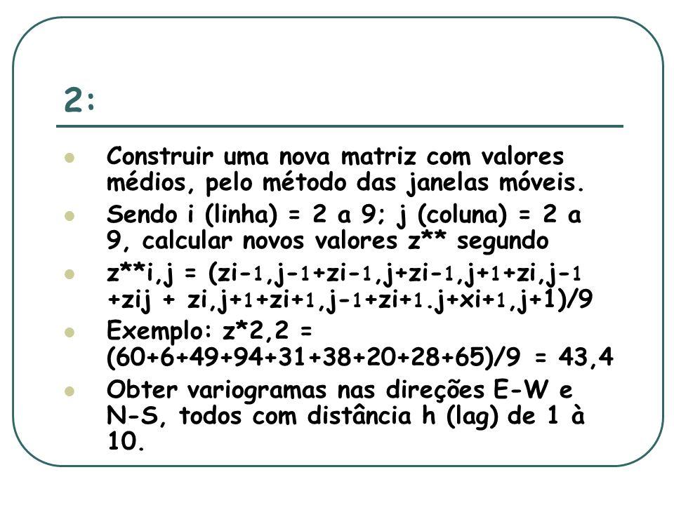 2: Construir uma nova matriz com valores médios, pelo método das janelas móveis.